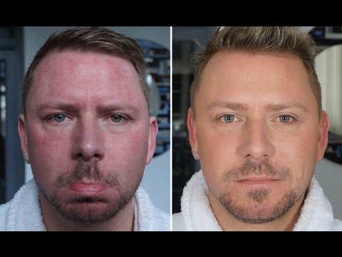 Homens com e sem maquiagem