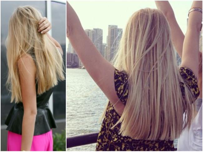 mulher de cabelo liso loiro