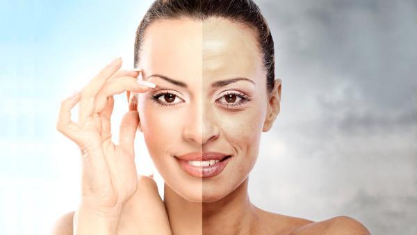 Imagem de mulher antes e depois do bigode chinês aparecer