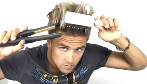 alisando o cabelo masculino