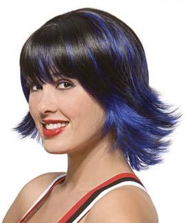 cabelo preto curto com mecha azul