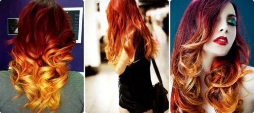 cabelo ruivo com mechas vermelhas
