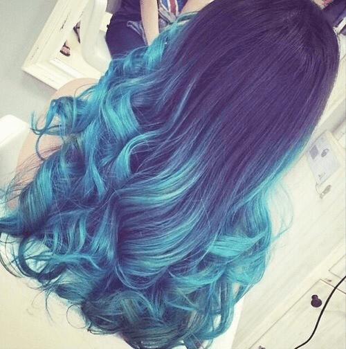 degrade cabelo azul