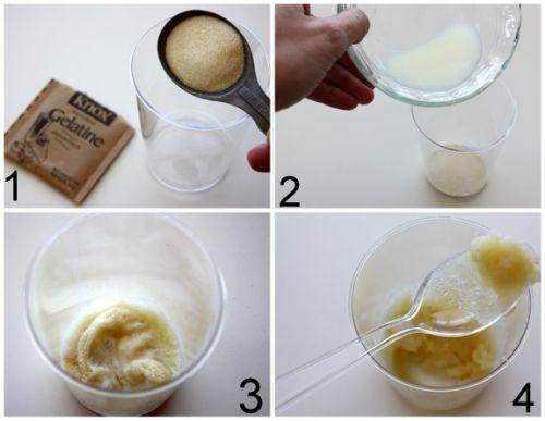 máscara de gelatina com leite