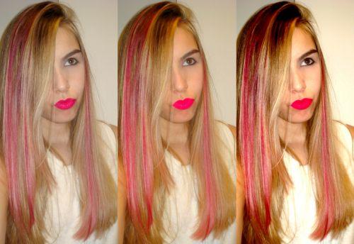 mechas vermelhas cabelo loiro