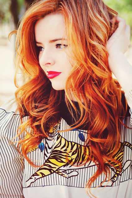 mechas vermelhas cabelo ruivo
