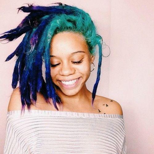 ombre hair azul