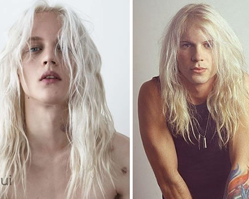 platinado loiro cabelo longo