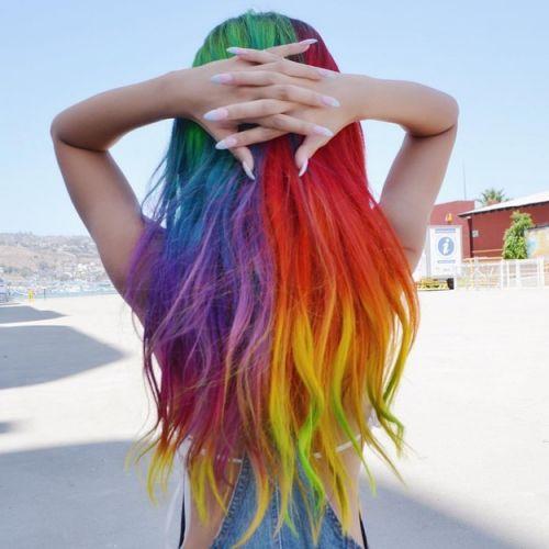cabelo arco iris como fazer