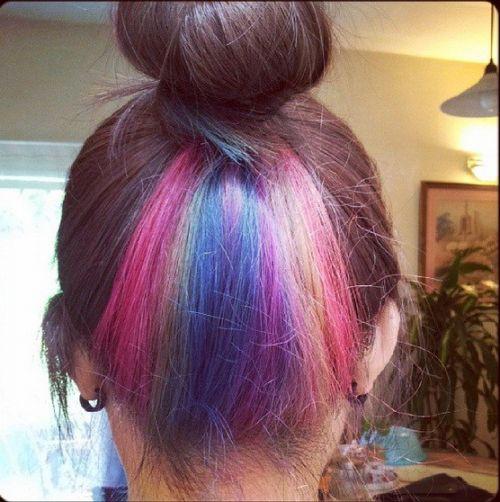 cabelo arco iris escondido