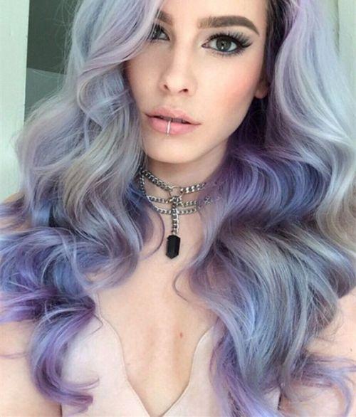 cabelo cinza e roxo