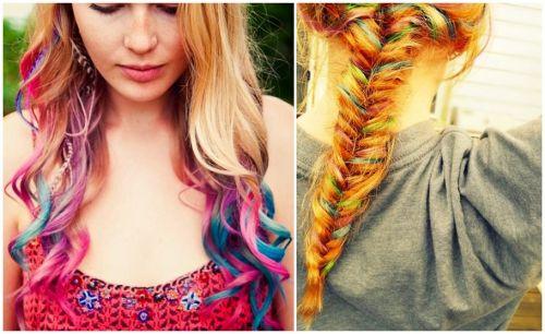 cabelos com luzes coloridas como fazer
