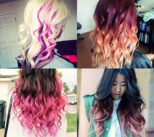 cabelos com luzes coloridas