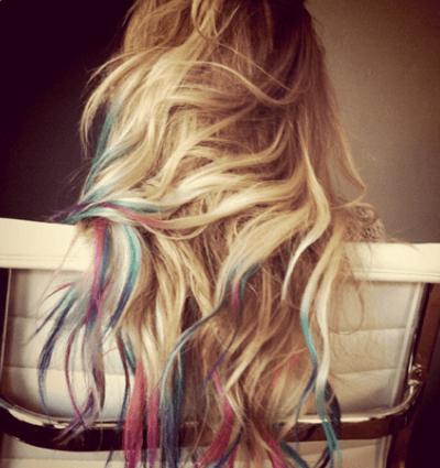 mechas rainbow hair