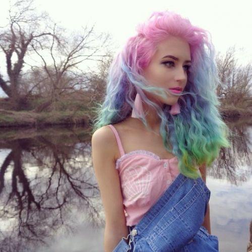 pastel hair rainbow