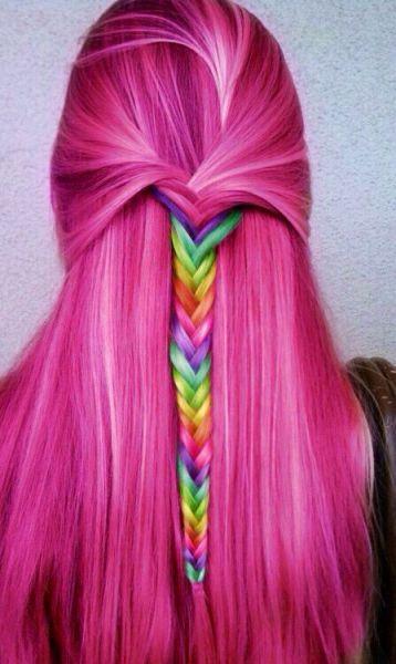 rainbow hair mechas