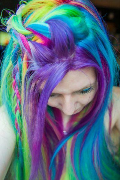 rainbow hair pastel como fazer
