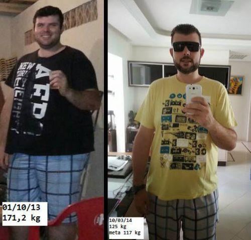 homem antes e depois dieta da proteína