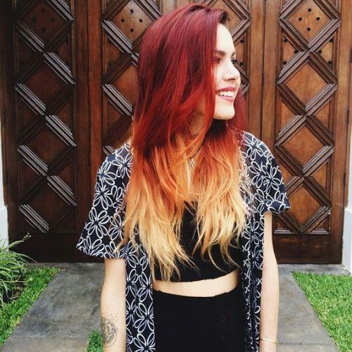 cabelo ombré vermelho