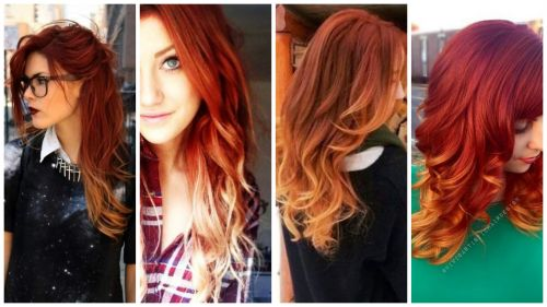 cabelos vermelhos com ombré hair
