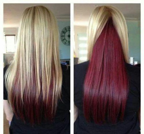 cabelo loiro com mecha vermelha